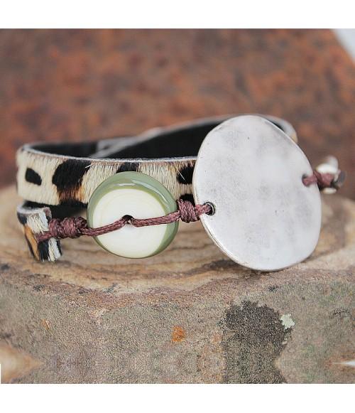 Pulsera cuero y cristal de Murano Nature
