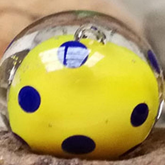 amarillo limón con capa transparente y lunares lapislázuli