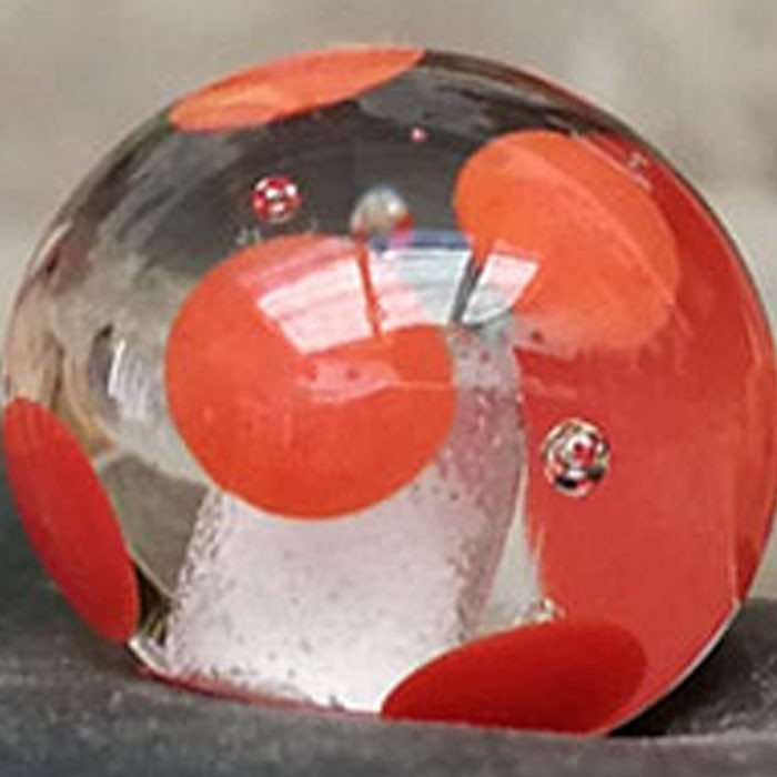 transparente con lunares naranja coral