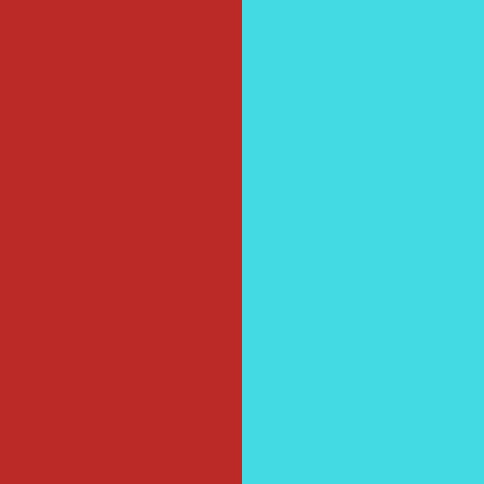 turquesa claro y rojo