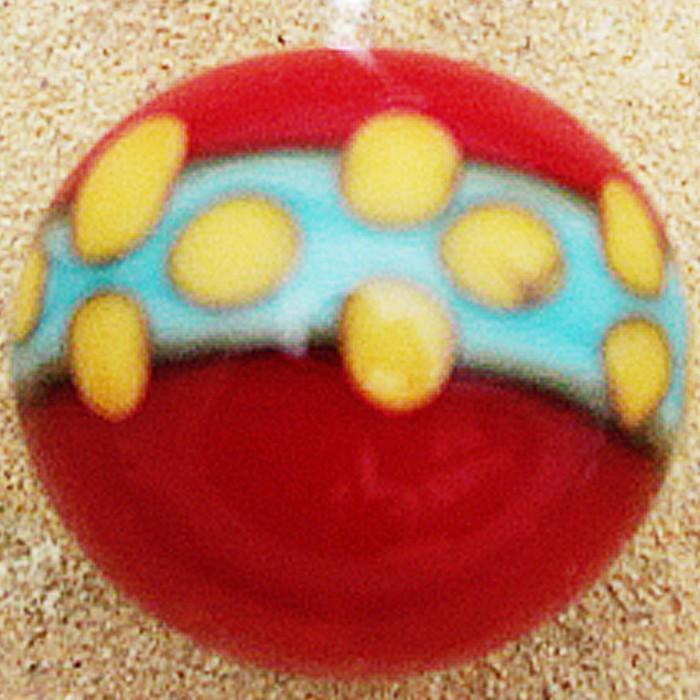 rojo claro con franja turquesa claro y puntos amarilo vainilla