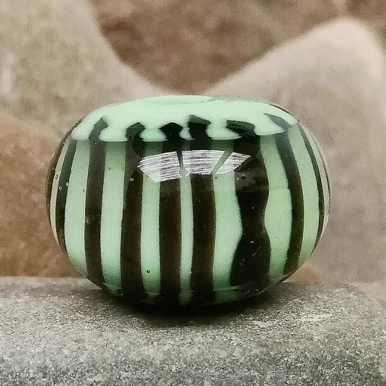 verde guisante con rayas verticales negras y capa de transparente