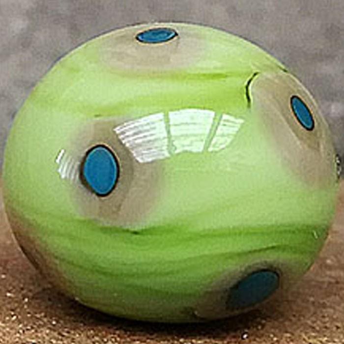 verde pistacho con lunares caqui y puntos turquesa oscuro
