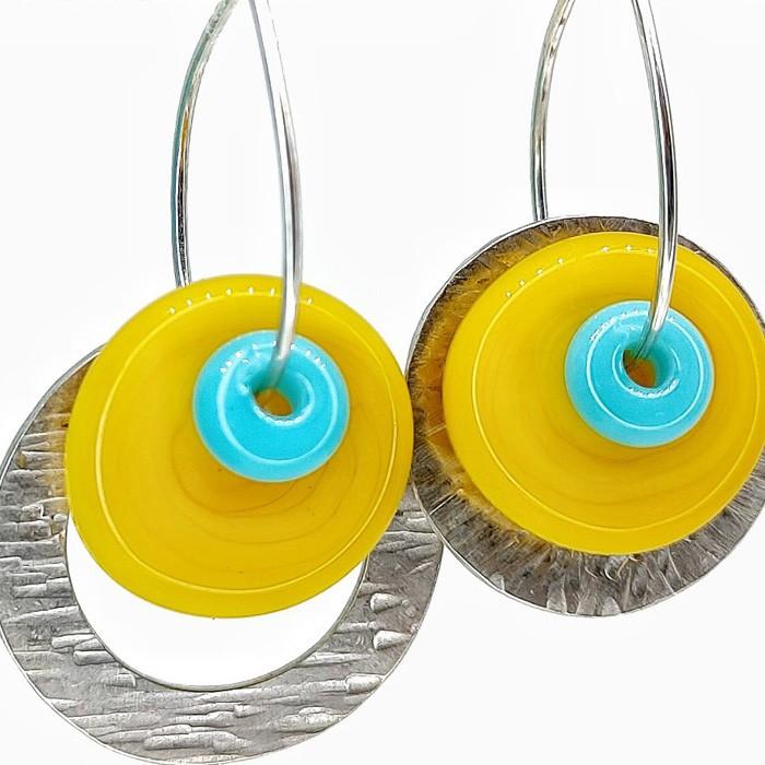 disco amarillo school bus y arandela turquesa bullseye