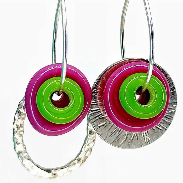disco frambuesa bullseye y arandela verde lima bullseye