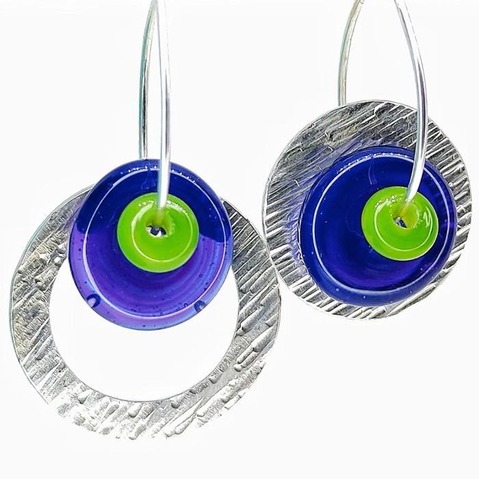 disco morado profundo bullseye y arandela verde lima bullseye